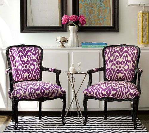 Ikat fabric on black lacquer chairs