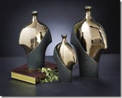 Picture of pewter & black vases.