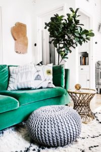Green sofa in modern room