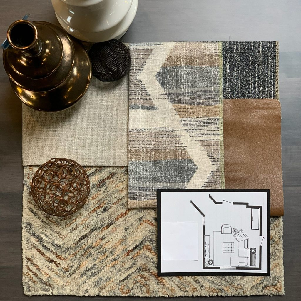 interior-design-lower-level-project-fabric-swatches-floor-plan