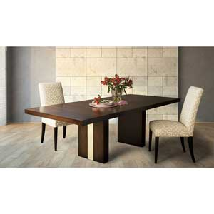 Wood table and upholstered chair
