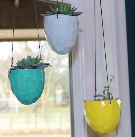 Earthen Joy colorful hanging planters