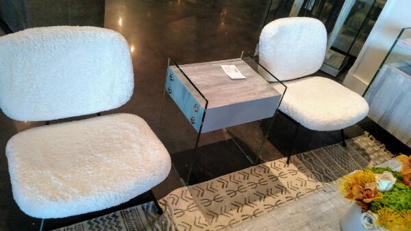 Fuzzy chair pair