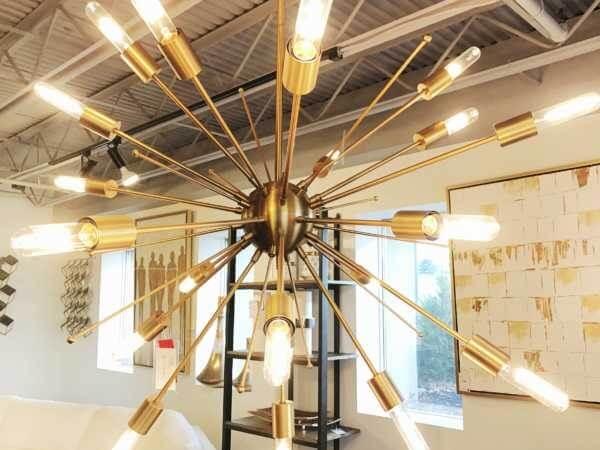 Gold modern chandelier by Design Des Moines