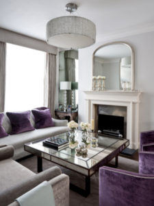 Traditional room with purple accents