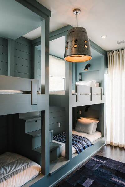 Gray shiplap in a bunk room