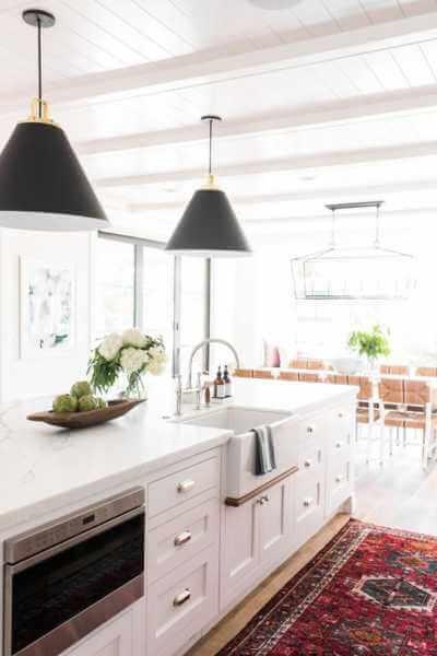 Shiplap kitchen with pendants