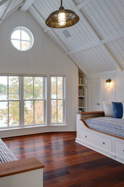 Shiplap walls in cottage style room