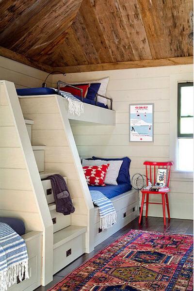 Shiplap bunk room in white