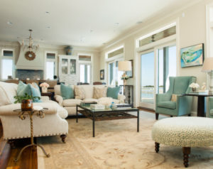 Traditional room with teal accents