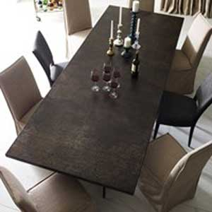 Steel table with fabric chairs