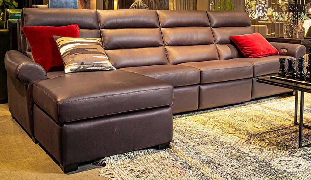 Austin Sectional. Rolled arm, transitional styled, custom motion furniture.