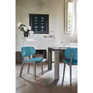 Italian Contemporary with blue chairs