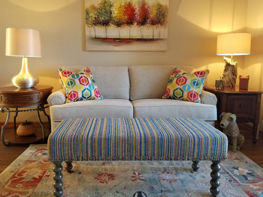 carly-bench-colorful-stripe-using-color-in-home-interior-design