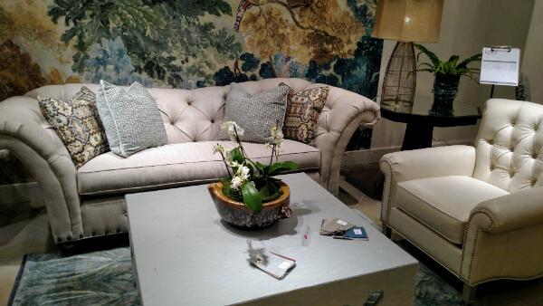 rose quartz tufted sofa